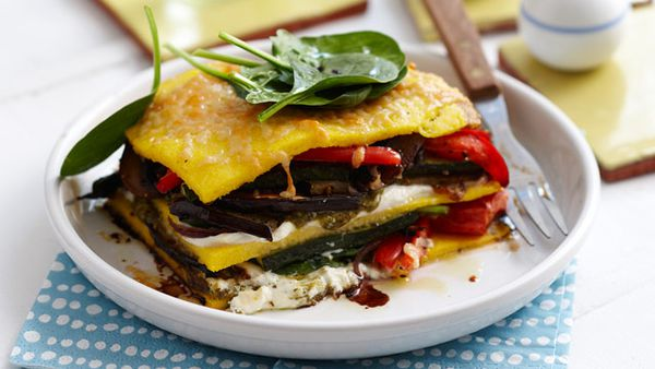 Roast vegetable pesto stacks