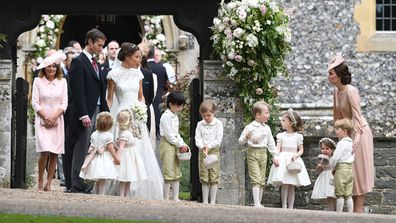 "Pippa Middleton and her wedding guests<span class=""Apple-tab-span"" style=""white-space:pre;"">	</span>"