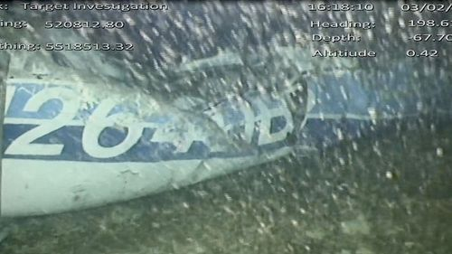 An image released by the AAIB shows the wreckage of the doomed flight that was carrying footballer Emiliano Sala.