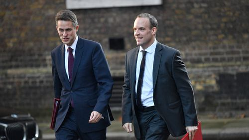 Britain's Secretary of State for Exiting the European Union Dominic Raab (R) and Foreign Secretary Gavin Williamson (L) arrive for a cabinet meeting at Downing Street in London, Britain.