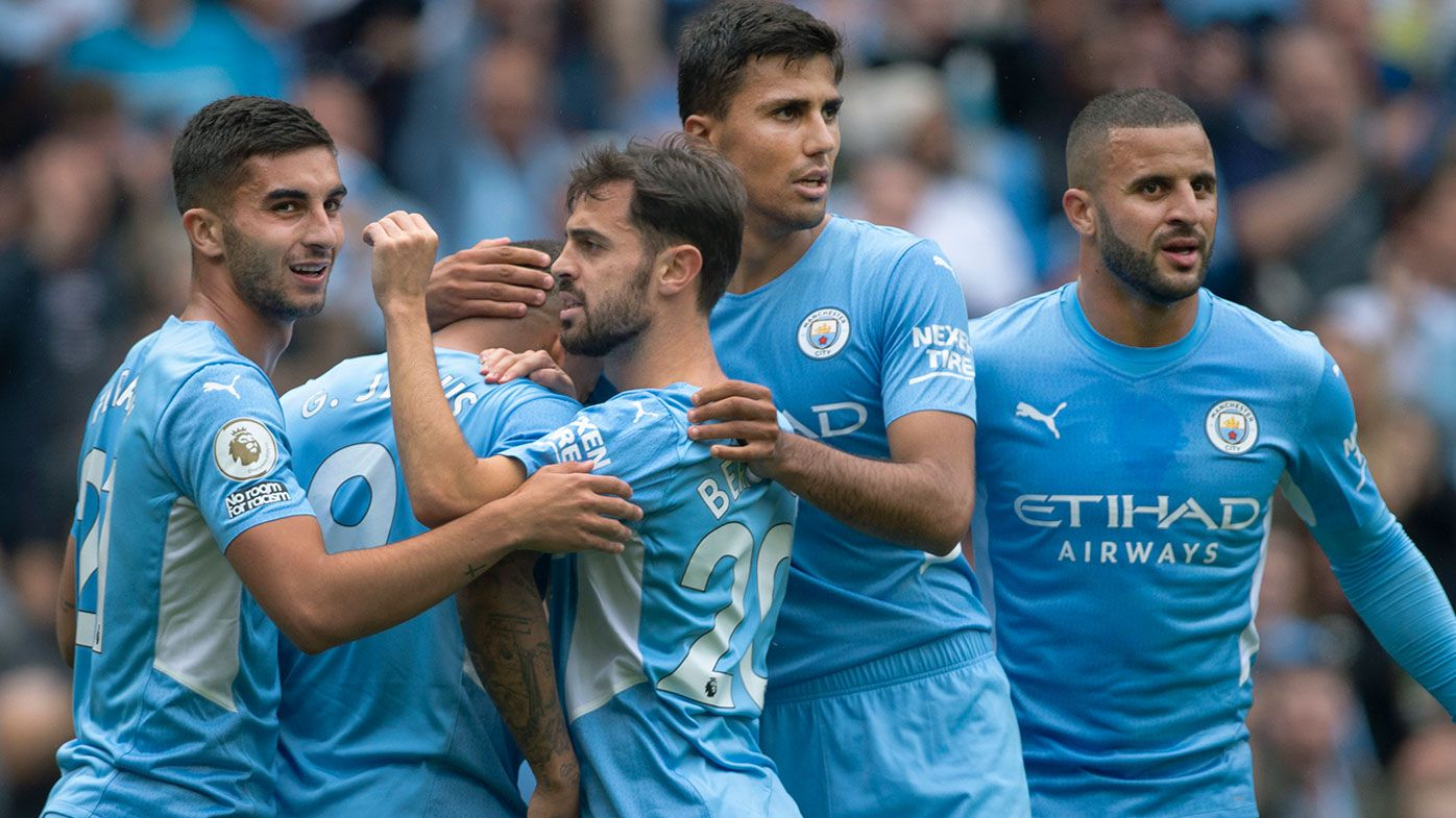 Ferran Torres, Gabriel Jesus, Bernardo Silva, Rodri and Kyle Walker of Manchester City celebrate their teams first goal during the Premier League match between Manchester City and Norwich City at Etihad Stadium on August 21, 2021 in Manchester, England. (Photo by Joe Prior/Visionhaus/Getty Images)