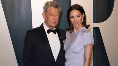 Katharine McPhee and David Foster attend the 2020 Vanity Fair Oscar Party in 2020.