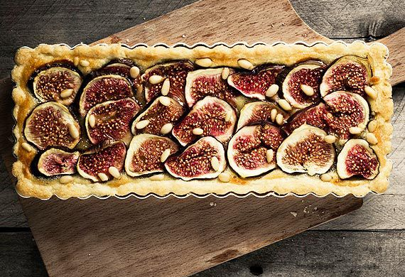 McKenzie's fig tart with pine nuts and marscapone cheese