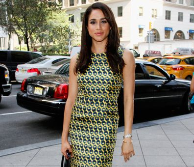 Meghan Markle in 2013, wearing her Cartier Tank watch.