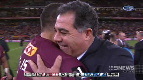 Meninga celebrates an Origin win. (9NEWS)