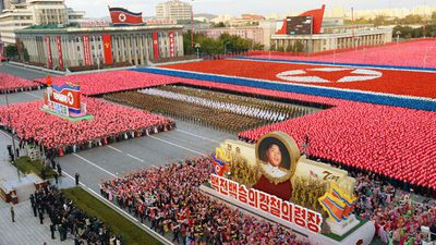 <p>North Korea has celebrated its ruling party's 70th birthday on Saturday with a spectacular, mass military parade and a declaration from leader Kim Jong-un that the nuclear-armed nation is ready for war with the United States. (AAP)</p><p><strong>Click through to see pictures from the lavish birthday parade. </strong></p>