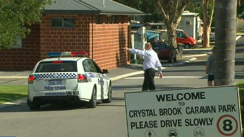 The murder was carried out at the Crystal Brook Caravan Park in Perth. Picture: 9NEWS