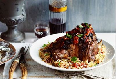 Greek-style roast lamb with pasta