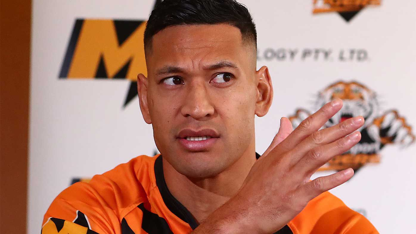 Israel Folau speaks to the media during a press conference at the Hilton Hotel in Brisbane.