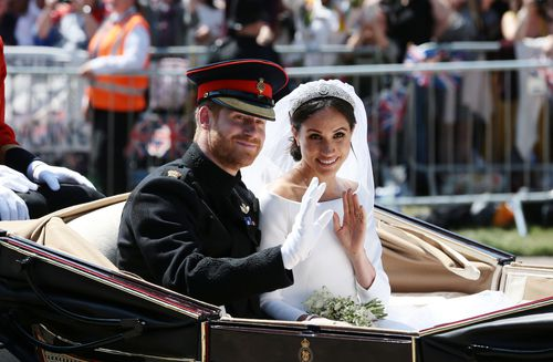 The husband and wife had a truly picturesque wedding on beautiful English day. (AAP)