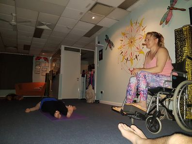 Trudy car accident recovery wheelchair yoga