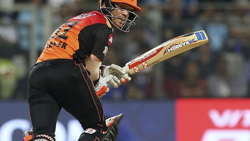 David Warner batting for Hyderabad in the IPL. (AAP)