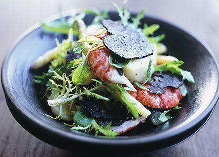Marron, truffle and asparagus salad