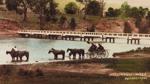 Historic image of famous Wollondilly Bridge.
