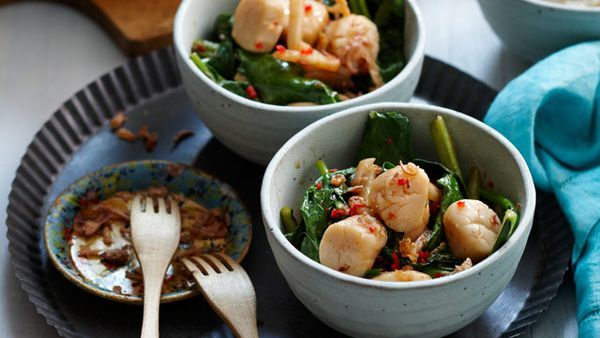 Market greens and scallops in XO sauce