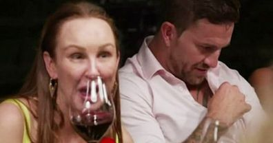 Melissa and Dan talking into microphone on Married At First Sight