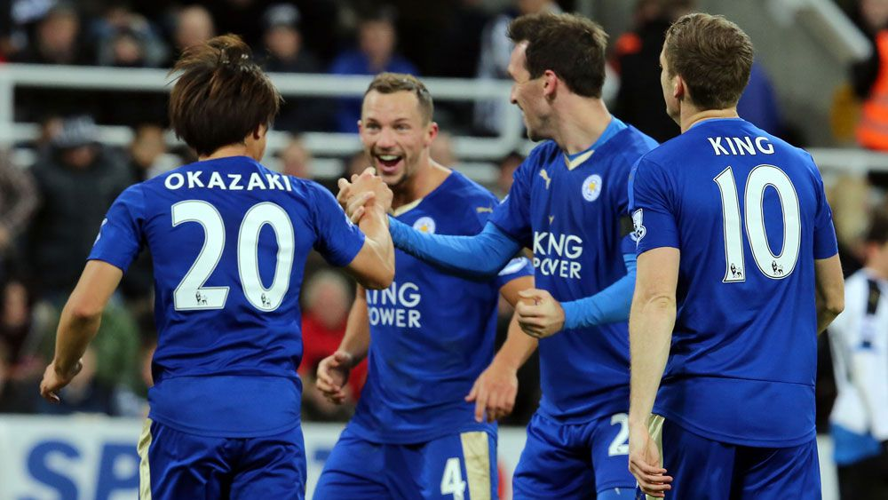 Leicester players celebrate a goal. (Getty)