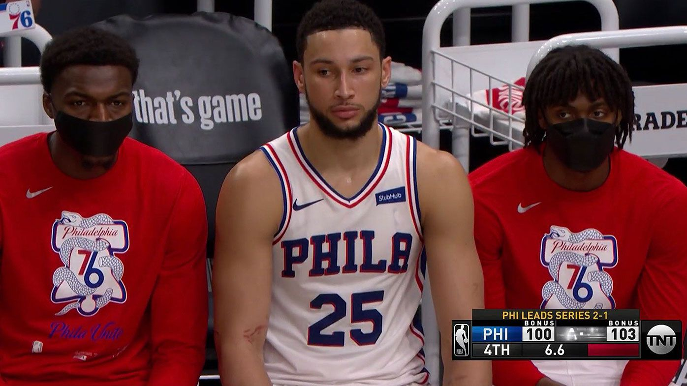 Aussie Ben Simmons brutally snubbed in final play during playoffs as Hawks defeat 76ers