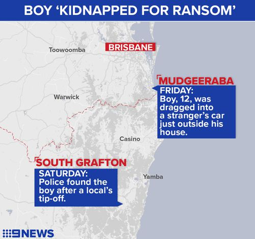 A map of where the boy was abducted and rescued. Map: 9NEWS