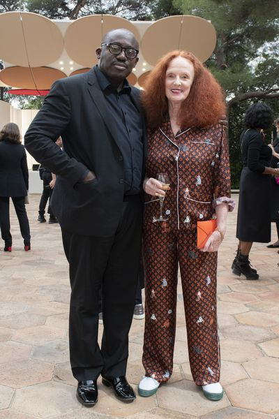 <em>British Vogue</em> editor-in-chief Edward Enniful and Grace Coddington at Louis Vuitton Cruise '19