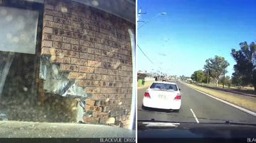 Drunk driver's own dashcam captures crash into house