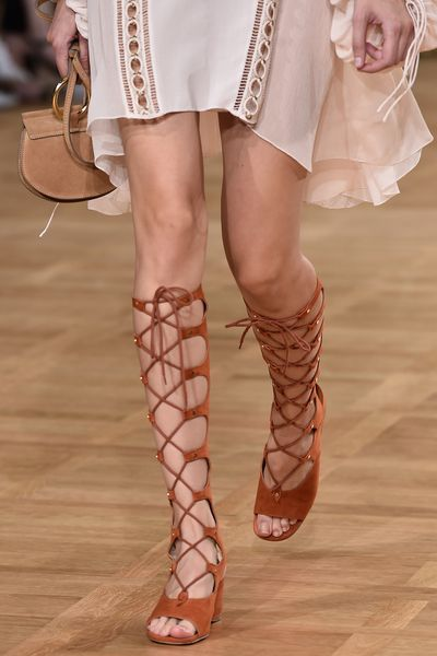 <p><strong>Chloé</strong>'s 'Foster' lace-up sandals</p>