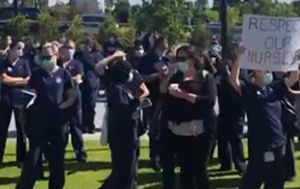 More than 150 nurses and midwives strike at Blacktown Hospital