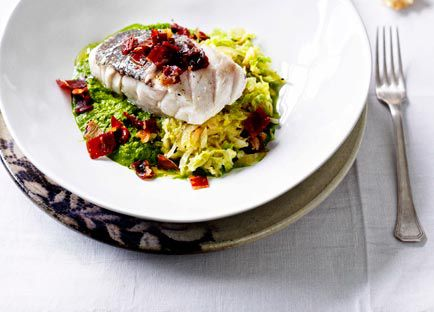 Hapuka with prosciutto crust and Savoy cabbage