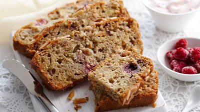 "Recipe:&nbsp;<a href=""http://kitchen.nine.com.au/2016/05/16/11/45/raspberry-pear-and-muesli-loaf"" target=""_top"">Raspberry, pear and muesli loaf</a>"