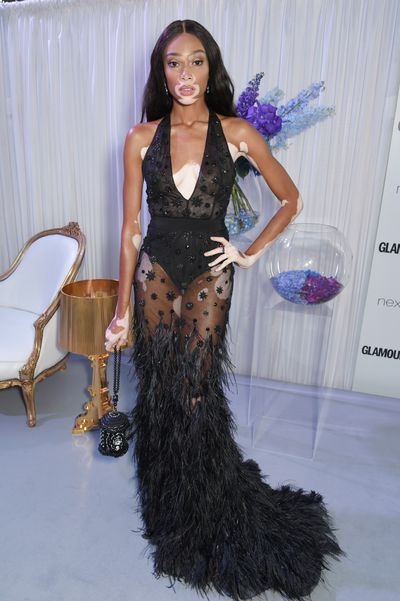 Winnie Harlow in Alberta Ferretti at the Glamour UK Awards, 2017.