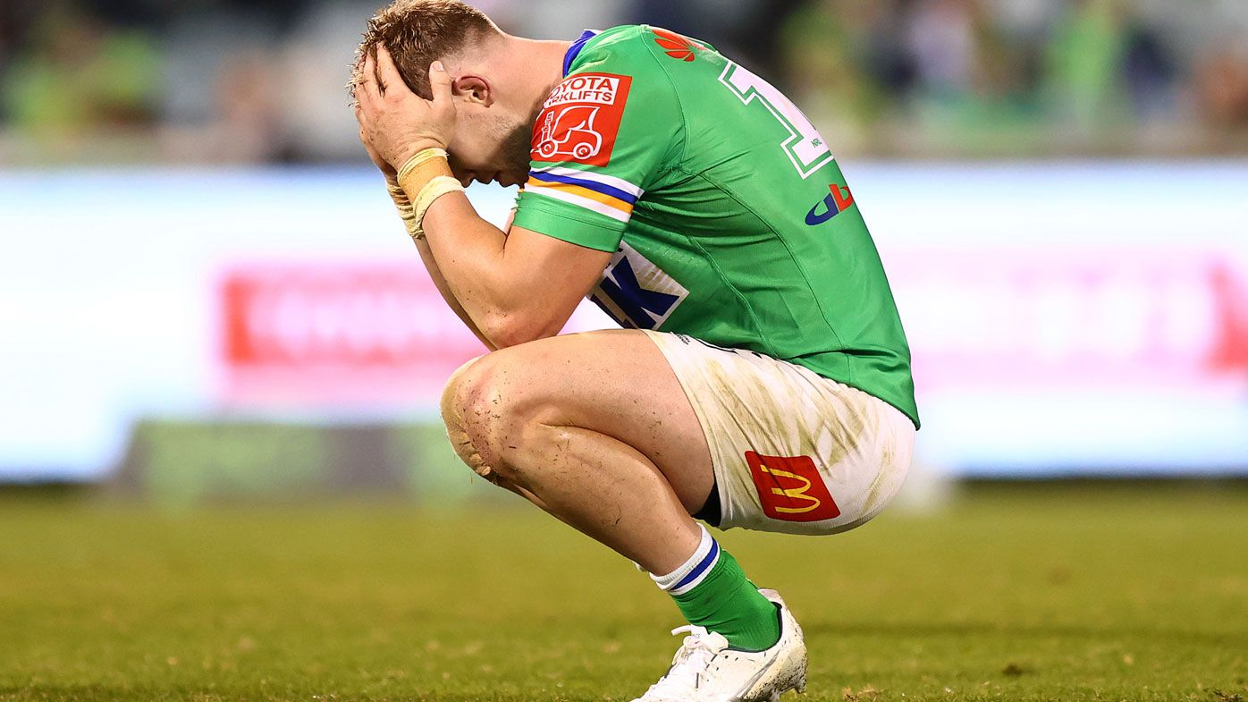Hudson Young hangs his head after the Raiders fall to Souths. (Getty)