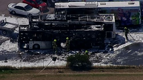 The buses were destroyed in the fire. (9NEWS)