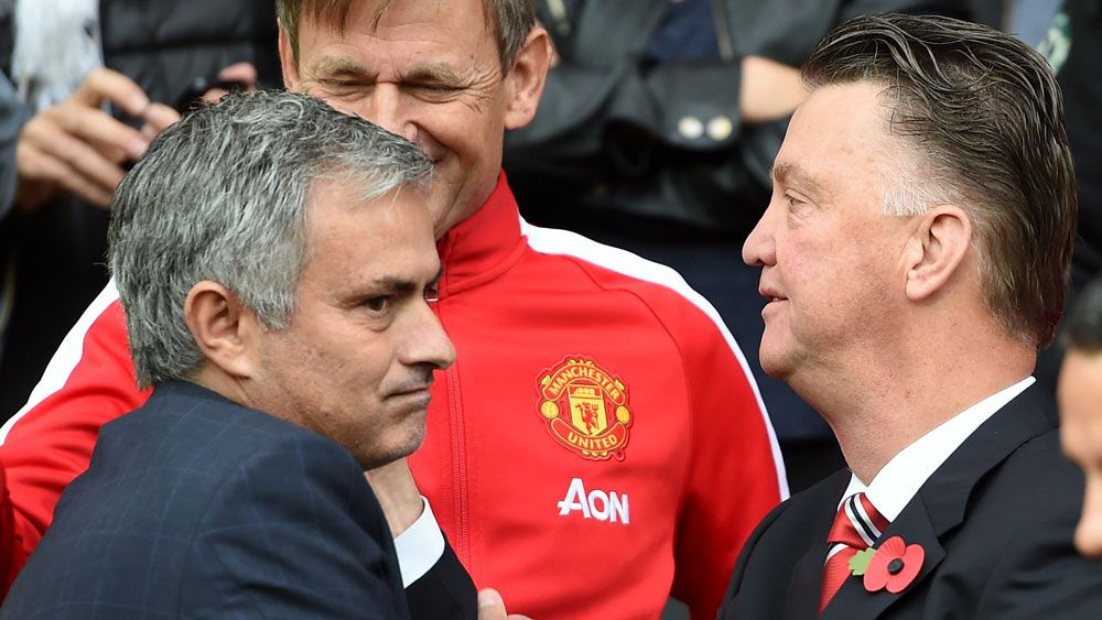 Jose Mourinho and Louis van Gaal. (AAP)
