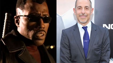Wesley Snipes in <i>Blade: Trinity</i>/Blade director, David S. Goyer. Images: New Line/Getty