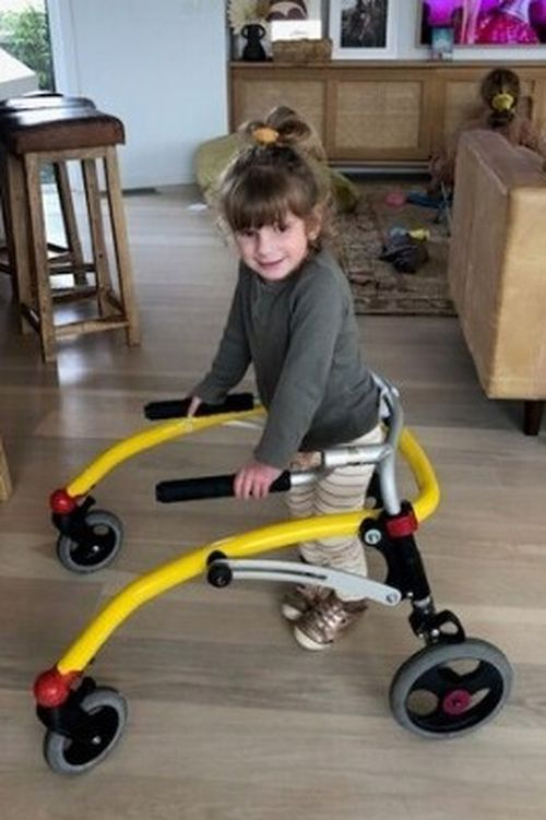 Maeve pictured with her walker.