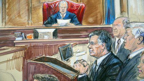 A courtroom sketch of Paul Manafort (centre).