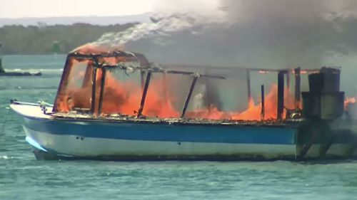 A house boat was destroyed by fire on the Gold Coast Broadwater today. (9NEWS)
