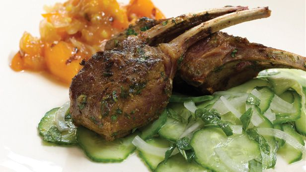 Curried spice lamb chops with grilled peach chutney and cucumber mint salad