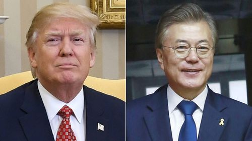 US President Donald Trump and South Korean President Moon Jae-In. (AAP)