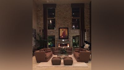 """His home is a five-bedroom, seven-bath Las Vegas mansion and comes in at 2000-square-metres. It's worth around $11.3 million. He captioned this photo """"comfortable living""""."""