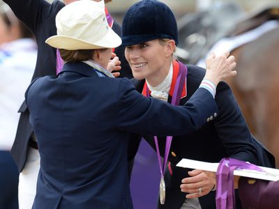 Zara receives a silver medal at the 2012 Olympics