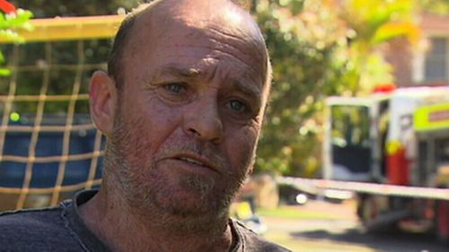 Neighbour Wayne Peterkin went to the rescue in Umina NSW after the fire broke out.