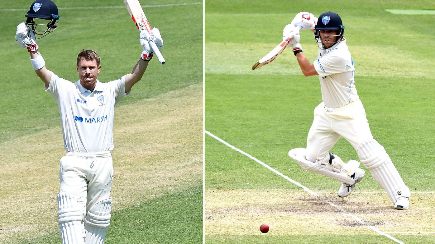 David Warner plays a shot during day two of the Sheffield Shield match between Queensland and New South Wales