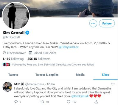 Kim Cattrall liked a fan's comment about not returning for a sequel.