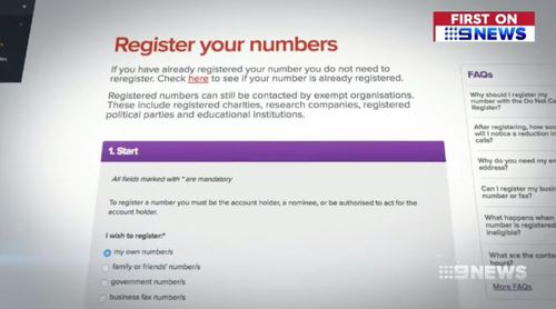 People concerned about scammers have been urged to list their phone number on the Do Not Call register. Picture: 9NEWS