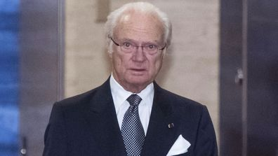 Sweden's King Carl XVI Gustaf arrives at a cocktail party before a banquet hosted by Japan's Prime Minister Shinzo Abe in Tokyo Wednesday, Oct. 23, 2019.
