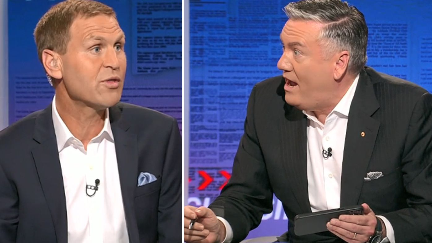 Eddie McGuire and Kane Cornes go head-to-head over long-running 'prison bar' jersey saga