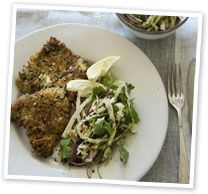 Parmesan-crusted veal with coleslaw