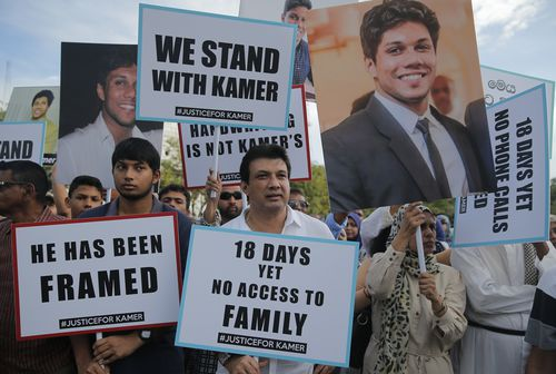Supporters in Sri Lanka rallied on the streets for Nizamdeen's release, saying he was framed.