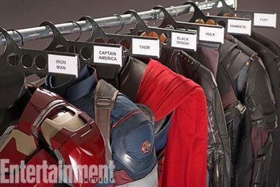 You know you're excited about a movie when even a costume rack gives you chills! We wonder what hi-tech tweaks Tony's new Iron Man suit will have? And how will Black Widow's catsuit hide ScarJo's pregnancy bump? We'll have to wait until 2015 to find out!